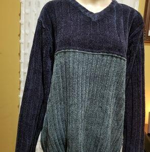Vintage Grandpa oversized sweater blue green M